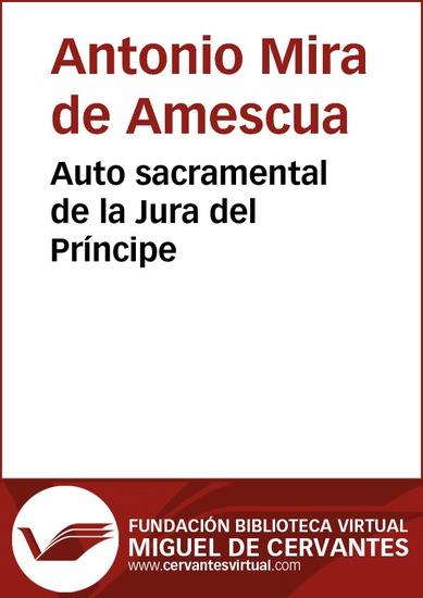 Auto sacramental de la Jura del Príncipe - cover
