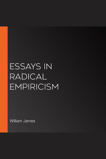 Essays in Radical Empiricism - cover
