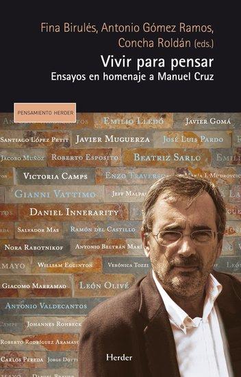 Vivir para pensar - Ensayos en homenaje a Manuel Cruz - cover