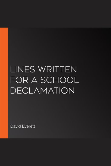 Lines Written for a School Declamation - cover