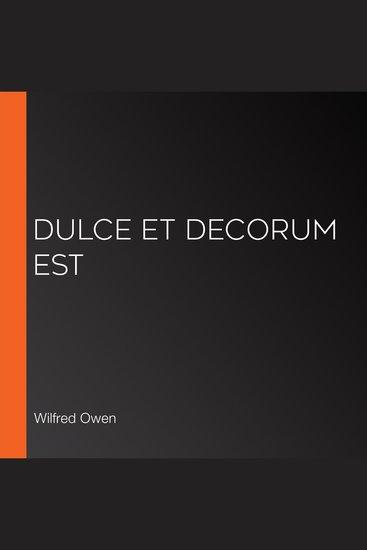 Dulce et Decorum Est - cover