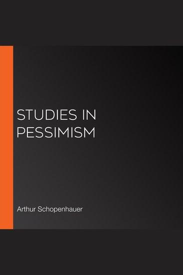 Studies in Pessimism - cover