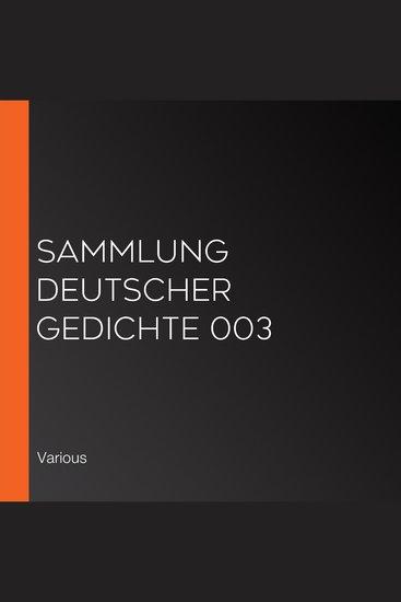 Sammlung deutscher Gedichte 003 - cover