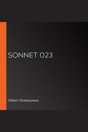 Sonnet 023 - cover