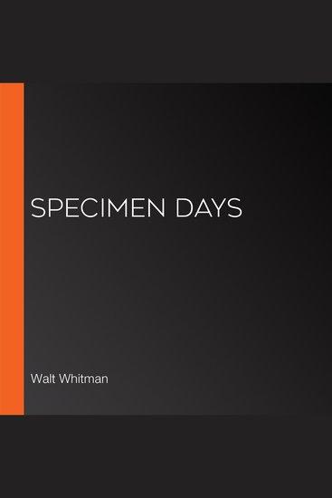 Specimen Days - cover
