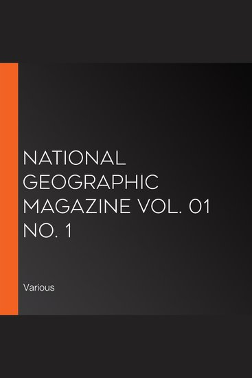 National Geographic Magazine Vol 01 No 1 - cover