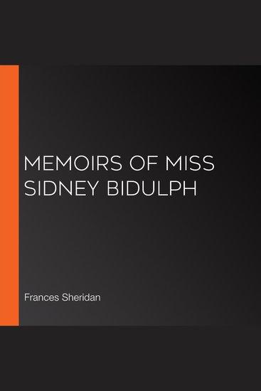 Memoirs of Miss Sidney Bidulph - cover