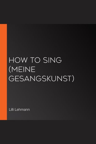 How to Sing (Meine Gesangskunst) - cover