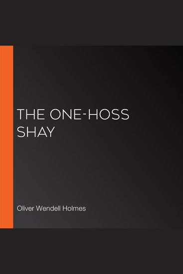 The One-Hoss Shay - cover