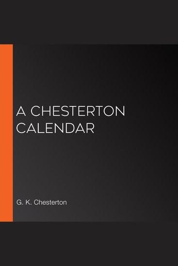 A Chesterton Calendar - cover