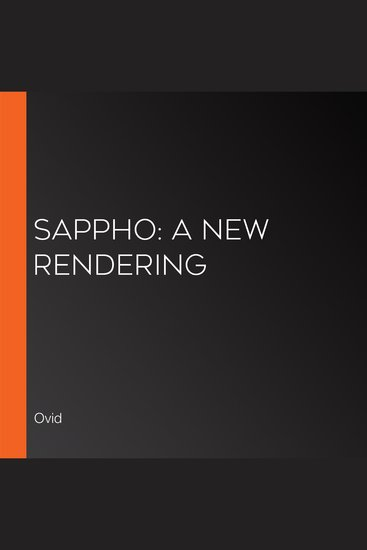 Sappho: A New Rendering - cover