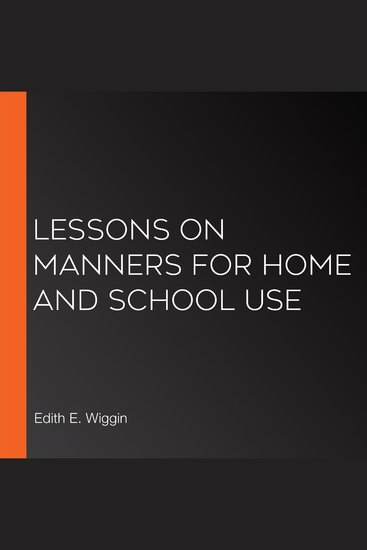 Lessons on Manners for Home and School Use - cover
