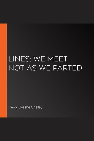 Lines: We Meet Not As We Parted - cover