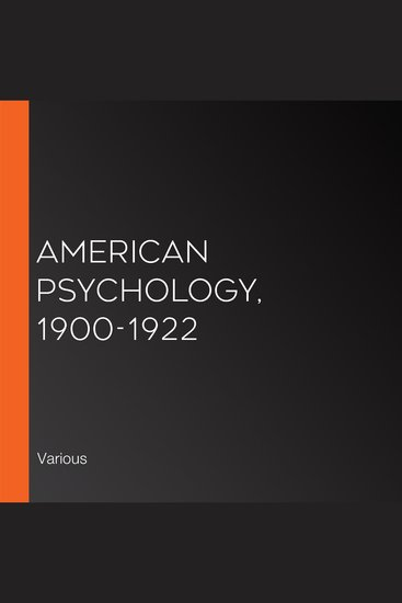 American Psychology 1900-1922 - cover