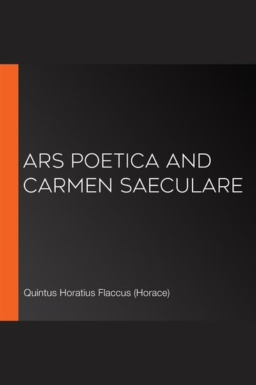 Ars Poetica and Carmen Saeculare - cover