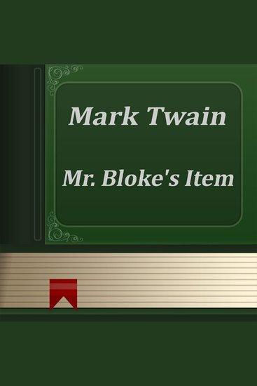 Mr Bloke's Item - cover