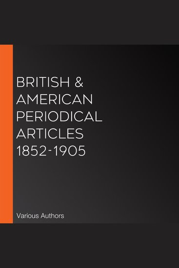 British & American Periodical Articles 1852-1905 - cover