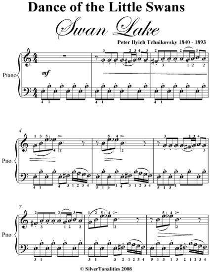 dance of the little swans swan lake elementary piano sheet