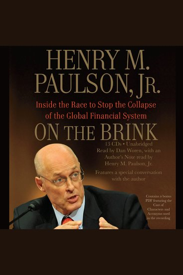 On the Brink - Inside the Race to Stop the Collapse of the Global Financial System - cover