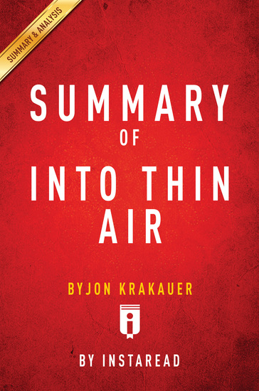 Summary of Into Thin Air - by Jon Krakauer| Includes Analysis - cover