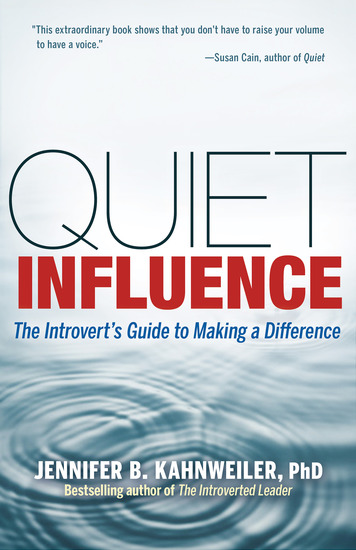 Quiet Influence - The Introvert's Guide to Making a Difference - cover