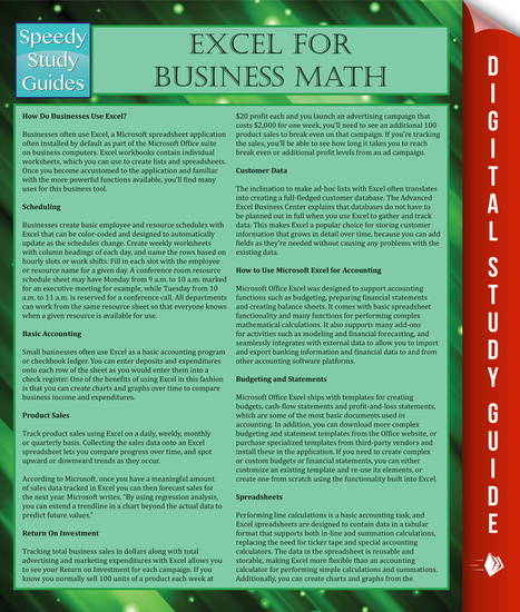 Excel For Business Math - cover