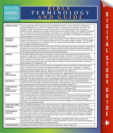 Bible Terminology And Guide - Speedy Study Guides - cover