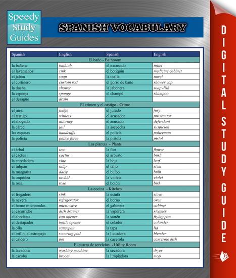 Spanish Vocabulary Speedy Study Guides - cover