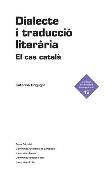 Dialecte i traducció literària - El cas català - cover