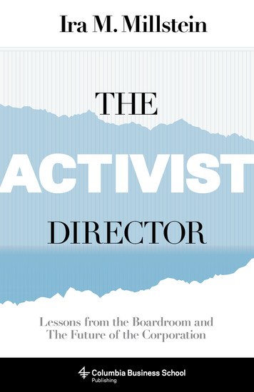 The Activist Director - Lessons from the Boardroom and the Future of the Corporation - cover