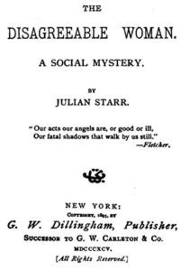 The Disagreeable Woman A Social Mystery - cover