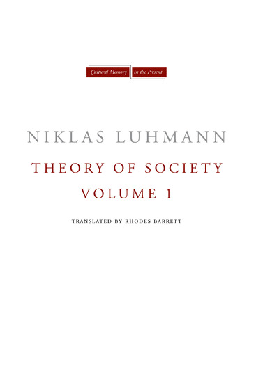 Theory of Society Volume 1 - cover