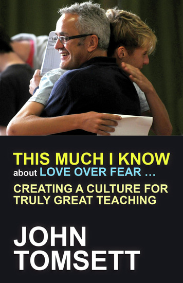 This Much I Know About Love Over Fear - Creating a culture for truly great teaching - cover