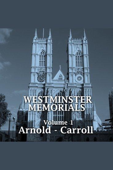 Westminster Memorials Volume 1 - cover