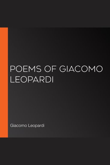Poems of Giacomo Leopardi - cover