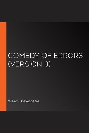 Comedy of Errors (version 3) - cover
