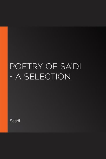 Poetry of Sa'di - A Selection - cover