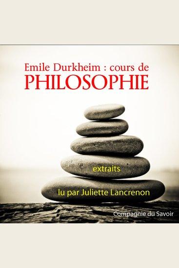 Durkheim: Cours de philosophie - Classique de philosophie - cover