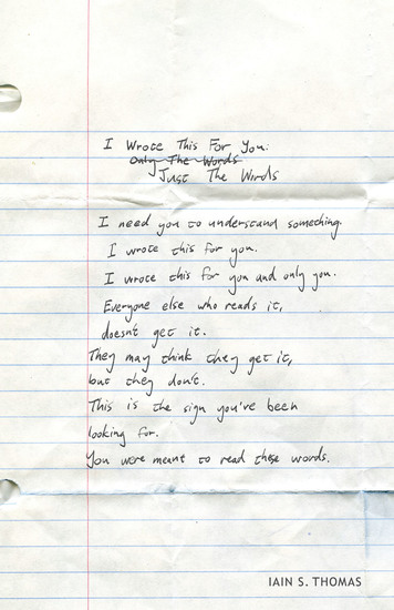 I Wrote This for You: Just the Words - cover
