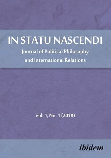 In Statu Nascendi - Journal of Political Philosophy and International Relations Vol 1 No 1 (2018) - cover