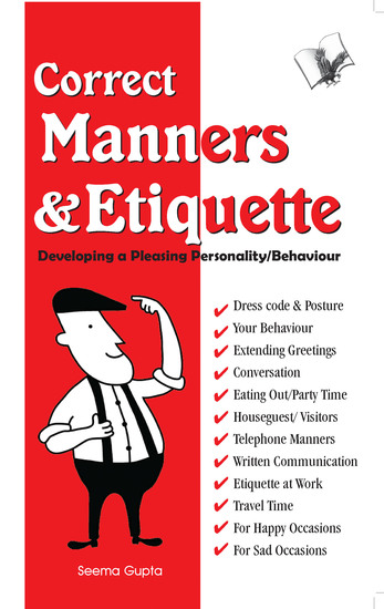 Correct Manners And Etiquette - A quick guide on acceptable manners & etiquette - cover