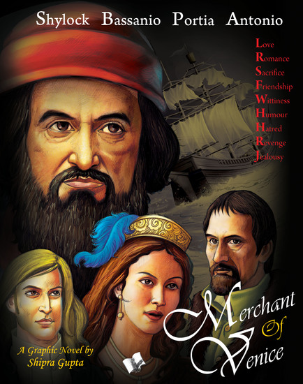 Merchant Of Venice - Shakesperean popular novel retold with graphics and colourful illistrations for children - cover