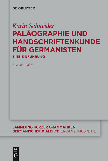 Paläographie und Handschriftenkunde für Germanisten - Eine Einführung - cover