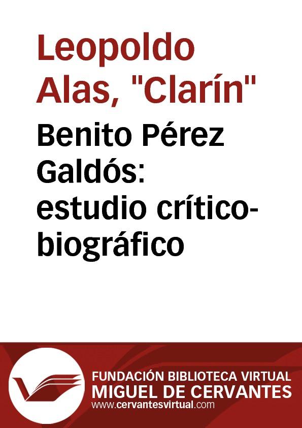 Benito Pérez Galdós: estudio crítico-biográfico - cover