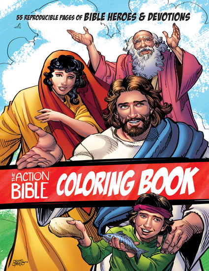 The Action Bible Coloring Book - 55 Reproducible Pages of Bible Heroes and Devotions - cover