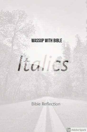Bible Italics - Book of Genesis - cover