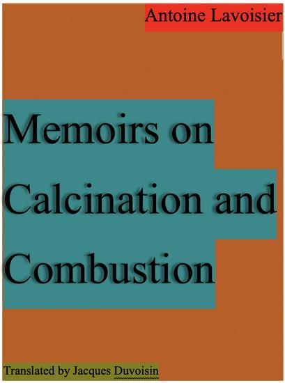 Memoirs on Calcination and Combustion - cover