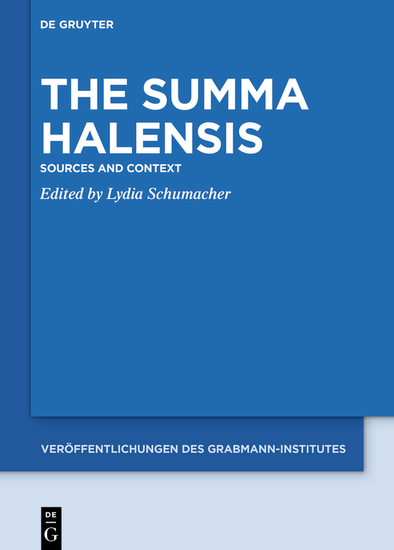 The Summa Halensis - Sources and Context - cover
