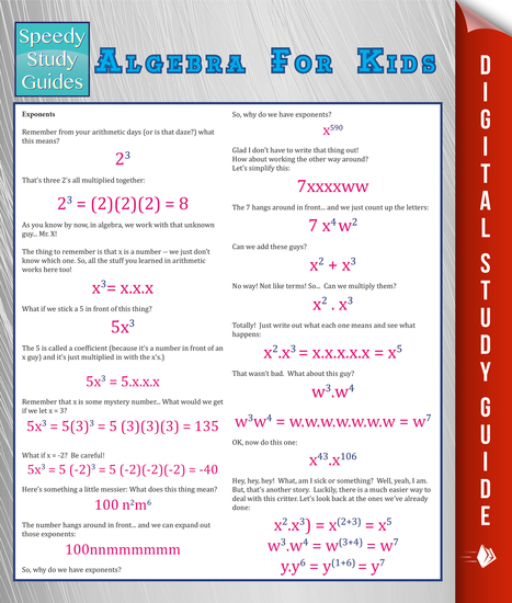 Algebra For Kids (Speedy Study Guide) - cover