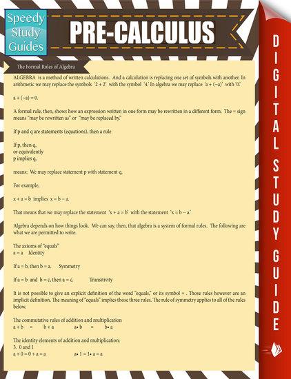 Pre-Calculus - Speedy Study Guide - cover